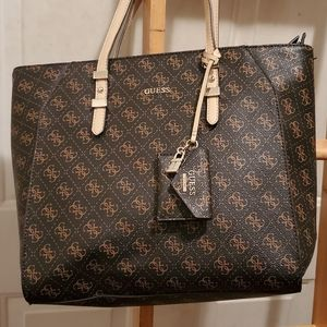 Guess signature chocolate brown tote bag